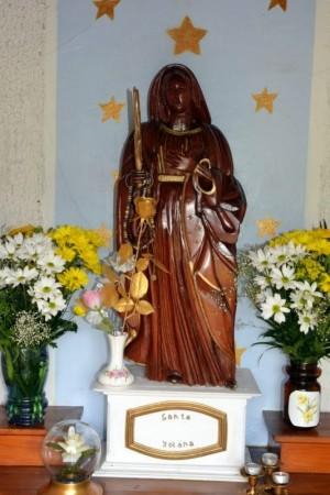 Imagen de Santa Yolana, mártir compañera de Santa Benedicta de Origny. Capilla de la Santa en Pleine-Selve, Francia.