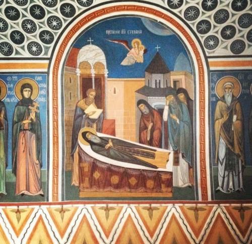 Fresco representando la muerte del santo.