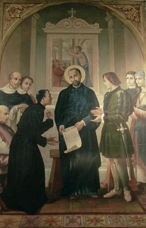 El Santo con sus compañeros y colaboradores. Iglesia de los padres barnabitas de Cremona, Italia.