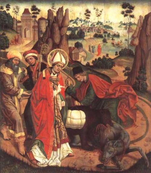 San Corbiniano atravesando los Alpes camino de Roma. Jan Polack, tabla del año 1489.