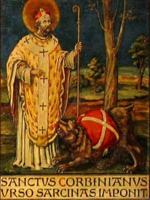 Pintura decimonónica de San Corbiniano con el oso.