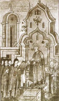 """Presentando la """"Vita"""" de santa Eufrosina de Suzdal al zar Iván el Terrible."""