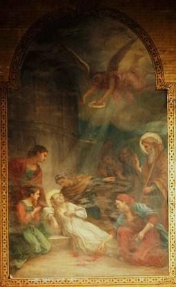 Agonía de la Santa. Lienzo decimonónico en su capilla de la catedral de La Rochelle, Francia.