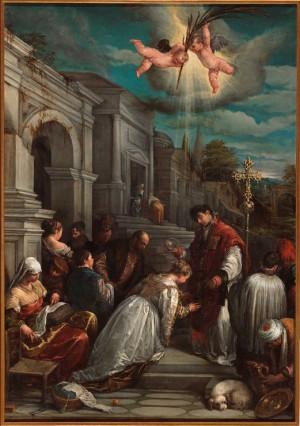 """Bautizo de Santa Lucila"", lienzo de Jacopo Bassano, año 1575."