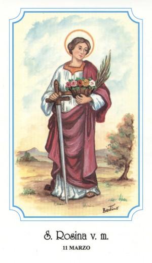"""La Santa con los atributos de martirio. Estampa perteneciente a la serie del ilustrador italiano Alberto Boccali (""""Bertino"""")."""