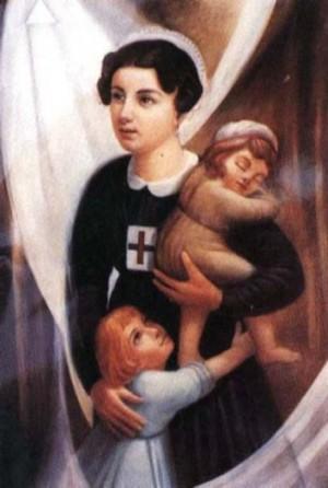 Estampa devocional de la Beata con sus dos hijas: Mariana y Lucina.