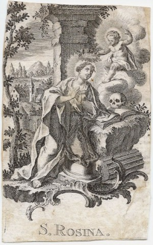 Grabado estilo Épinal de Santa Rosina como virgen ermitaña, sin atributos de martirio.
