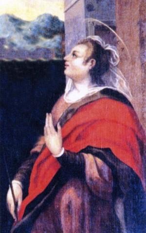 Detalle de Santa Fusca en un lienzo barroco. Iglesia de Santa Maria in Porto, Rávena (Italia).