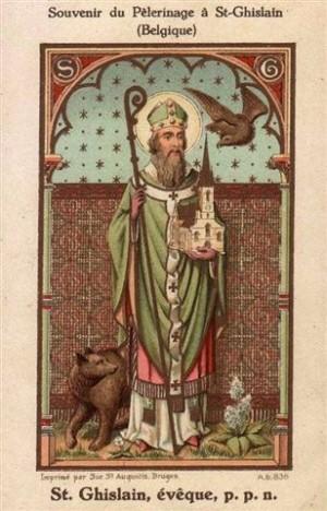Estampa decimonónica de San Gisileno con el oso.