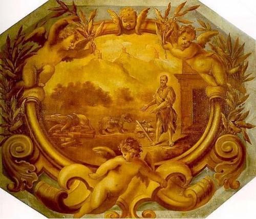 Fresco barroco de San Marino el Dálmata con el oso.