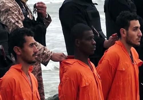 Detalle de los rostros de los mártires en el vídeo difundido por sus verdugos.