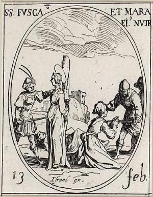 Martirio de las Santas. Grabado de Jacques Callot.