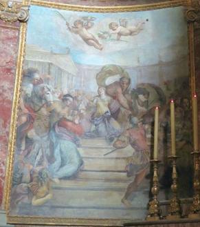 Martirio de los Santos Nemesio y Lucila. Lienzo de Domenico Maria Canuti. Iglesia de Santa Maria Nuova, Roma (Italia).