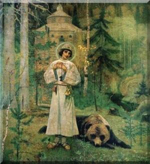 Pintura decimonónica rusa de San Sergio de Radonezh con el oso.