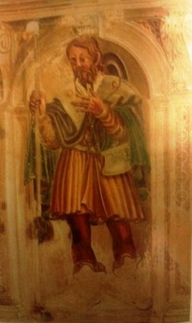 Fresco de San Ursio en la iglesia de San Dionisio de Santorso, Italia.
