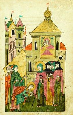 Miniatura del siglo XVII en el que se representa a Teodulia solicitando el ingreso en el monasterio.