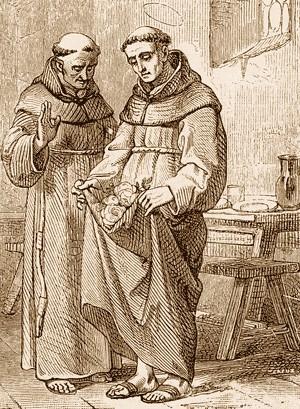 Litografía mostrando el milagro de convertir el pan en rosas.