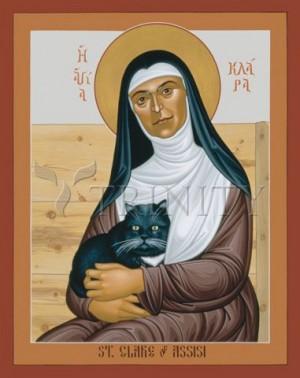Icono de Santa Clara con la gata. Obra del hermano Robert Lentz, OFM.