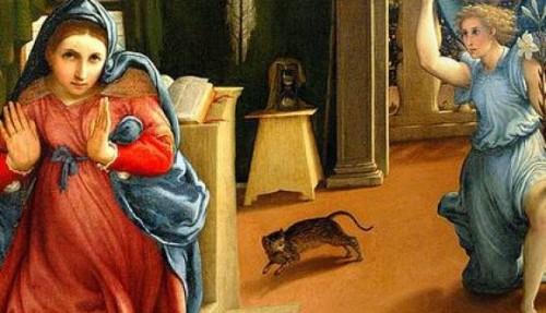 """Detalle de un gato en """"La Anunciación"""" de Lorenzo Lotto."""