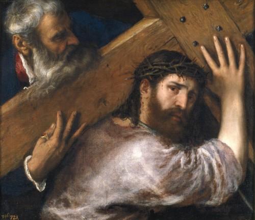 """""""Cristo cargando la cruz"""", óleo de Tiziano Vecellio, ca. 1565. Museo Nacional del Prado, Madrid (España)."""