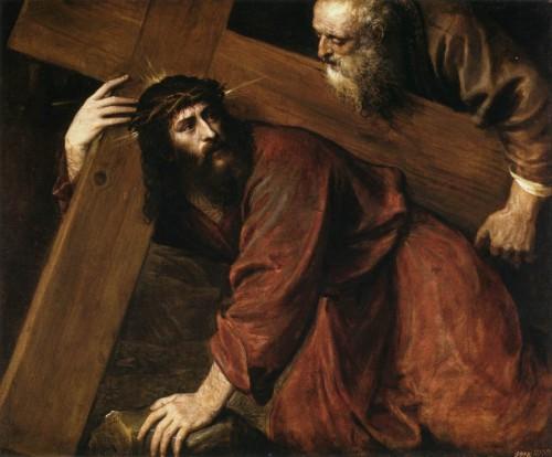 Simón Cirineo ayuda a Cristo con la cruz. Óleo de Tiziano, Museo Nacional del Prado, Madrid.