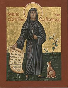 Icono francés de Santa Clotilde de California con el gato.