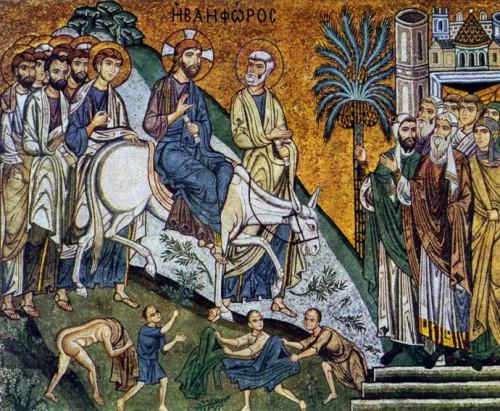 La entrada de Jesús en Jerusalén. 1140-1170. Mosaico de la Cappella Palatina. Palermo, Italia.