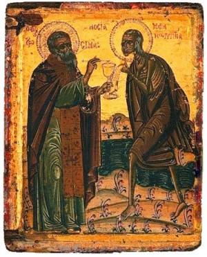 Icono ortodoxo griego de Santa María Egipcíaca recibiendo la comunión de San Zósimo.