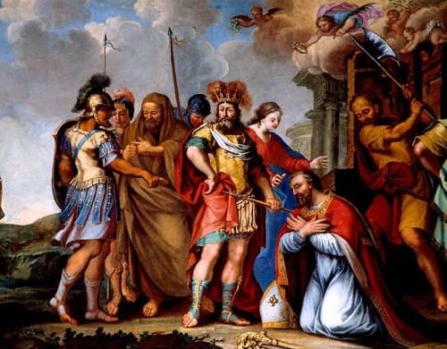 Martirio del Santo. Lienzo de Ariusz Hermanowicz. Iglesia de San Léger, Cognac, Francia.