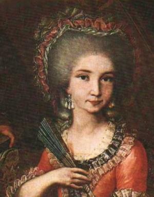 Retrato de la Santa en su juventud, todavía con vestiduras de noble.