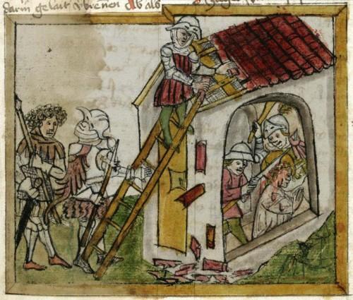 Martirio de la Santa. Iluminación en un manuscrito medieval.