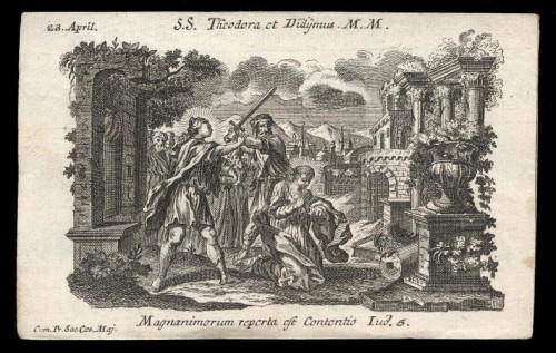 Martirio de los Santos. Grabado barroco.