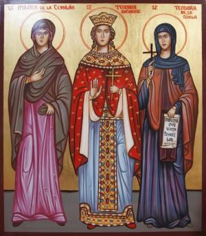 Icono ortodoxo rumano de las Santas Maura de Ceahlau (izqda.) Teófana Basarab (centro) y Teodora de Sihla (dcha.)