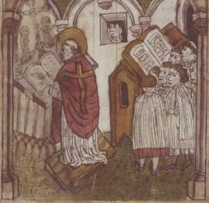 La Santa oyendo misa desde la ventana de su celda. Miniatura medieval.