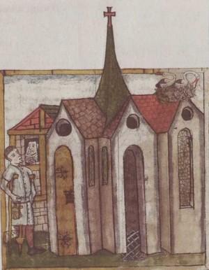 La Santa aconsejando a un visitante desde su celda, adosada a la iglesia de San Magno. Miniatura medieval.