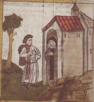 La Santa atendiendo a un visitante. Miniatura medieval.