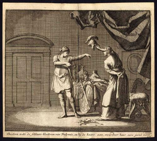 Teodora y Dídimo se intercambian las vestiduras. Grabado de Jan Van Luyken.