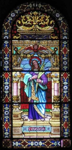 Vidriera de Santa Anastasia, mártir romana. Seo de Xàtiva, Valencia (España).