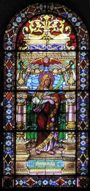 Vidriera de Santa Basilisa, mártir romana. Seo de Xàtiva, Valencia (España).