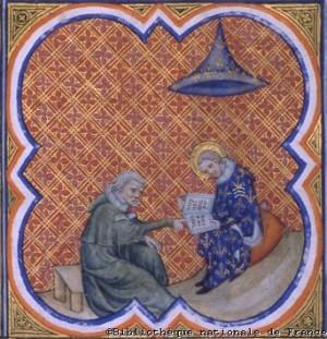 El Santo haciéndose instruir por un monje. Miniatura de las Grandes crónicas de Francia del siglo XIV. Biblioteca Nacional de París.