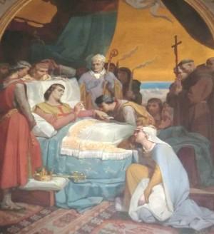 Muerte del santo. Cuadro de Melchor Doze en la catedral de Nîmes.