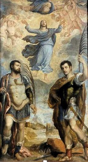 Lienzo de los Santos con Cristo Transfigurado en Noale, Venecia (Italia).