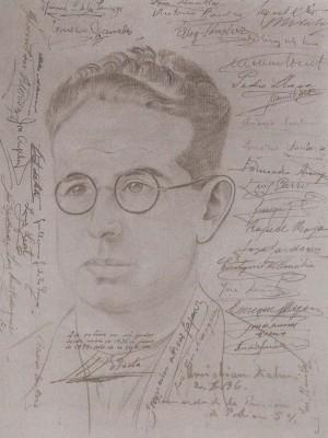 Dibujo realizado del beato en prisión, firmado por 70 compañeros suyos en muestra de afecto. Año 1936.