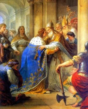 Entrevista de San Luís con el Papa Inocencio IV en Lyón. Lienzo de Louis Jean François Lagrenee.