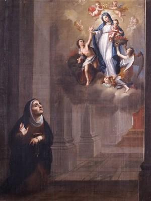 La primera aparición de la Madre Santísima de la Luz. oleo/tela, atribuido a Miguel Cabrera.