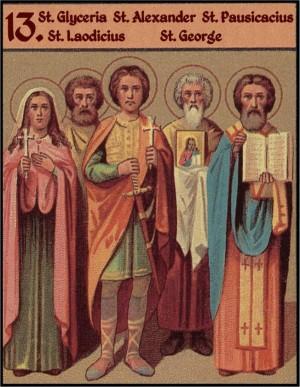 Sinaxis de los Santos venerados el 13 de mayo: Gliceria, Laodicio, Alejandro, Jorge y Pausicacio. Ilustración para el Prólogo de Ochrid.