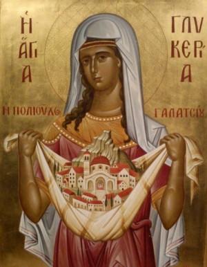 Icono ortodoxo griego de la Santa sosteniendo una maqueta de su catedral en Galatsi, Atenas (Grecia).