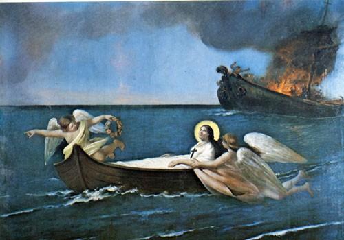La Santa preservada de las llamas, los verdugos son castigados. Lienzo de Ferdinando Mastriani, iglesia de la Santa, Lacco Ameno, Ischia (Italia).