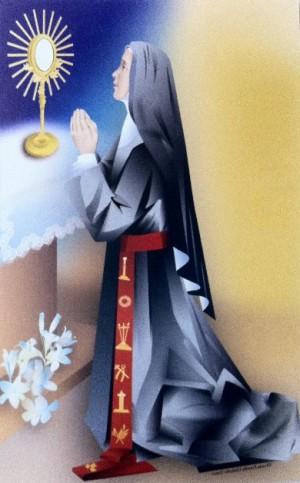 Estampa ilustrada de la Santa en adoración eucarística.