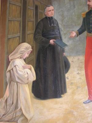 El padre Cestac y las bernardinas. Detalle de un lienzo.
